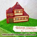 Дом мечты Ванильный и шоколадный бисквиты, сливочно-ванильный крем, орехи, чернослив. Мастика 7,1кг