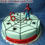 Человек паук 3 Торт-пломбир (кусочки коржей, залитые сливочно-ванильным кремом). Отделка – мастика