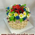 Корзина полевых цветов Ванильный бисквит, йогуртовый крем, фрукты. Мастика 3,4кг