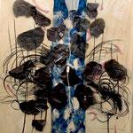 flourishing vanity - 1,50X2,10 mixed media (fabrics, acrylic colours, coal, lamp)