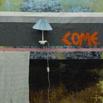 anticipation - 1,60X2,20 mixed media (acrylic colours, fabrics, lamp)