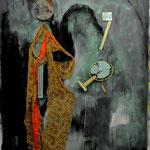 relics of trauma - 1,90X1,50μ., μικτή τενική σε καμβά, κάρβουνο, ακρυλικά, ύφασμα, φόρεμα, δίχτυ, κρεμάστρα