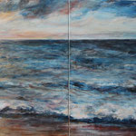 Meerblick (1) - Acryl auf Leinwand - 80x160 cm (2 Leinwände) - 2017