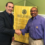 Speaker Scott Francis with MeckSouth Rotary president, Wil Brooks