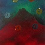 Happy Birthday, Mister Vulcano! Öl, Plasteblumen auf Lwd. 60x30
