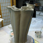 A bouquet form in progress -- the base is made of tubes
