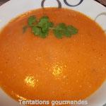 Potage tomates- lentilles roses