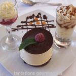 une trilogie de chocolat et tiramisu