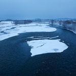 夜明け前 石狩川【当麻町】