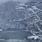 雪降る幾春別川【三笠市】