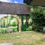 Graffiti Gartenmauer