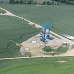 Repowering - Windpark Tempelfelde Standort TR 05 Aufbau Hilfskran für Vormontage