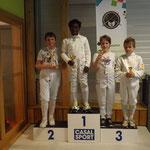 podium pupille épée Noa 1er, théo et thibault 3ème