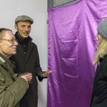 """Verhüllung des Absperrgitters"" Kunstaktion von Hardy Bock, 3. Januar 2017"