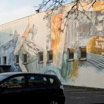 Gabriele Wilpers, Wandbild zur Geschichte der Stadt Essen, 1988, am Gänsemarkt (inzwischen übermalt)