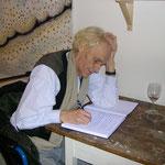 Timms Abschied - Ausstellung Tim Weltermann 2.10.2004, Eintrag ins Kondolenzbuch, Erhard Becker