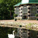 Вольеры. Единственные сохранившиеся  деревянные садовые павильоны начала XVIII века. Используются по своему прямому назначению: в Западном вольере содержатся певчие птицы, а в Восточном - попугаи.