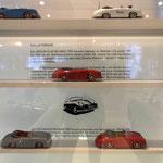 Porsche-Modellautos im Prototyp Automuseum.