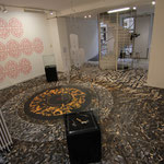 """Paragraphe"" recycling wood floor installation.  Zepha aka Vincent Abadie Hafez 2014"