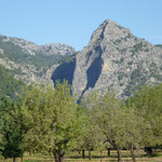 das Ziel unserer Kletterträume,wir wollen über den linken schattenwerfenden Grat auf den Gipfel der Sa Gubia klettern