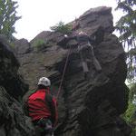 Klettern am Schwarzen Stein (Grünbach)
