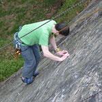 Klettern auf den Reibungsplatten am Wendelstein