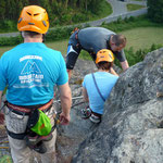 Klettertraining an der Großen Köhlerspitze, unteres Göltzschtal