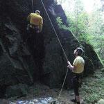 Klettern am Lohberg, Oberes Göltzschtal, Vogtland, Sachsen