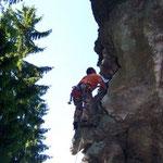 Klettern an der Teufelskanzel (Elstertal)