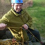 Wolfgang, unser Sicherungsmann am Gipfel des Lochsteins...