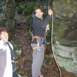 unsere verschnupften Kletterer Anja und Nico trotzdem hochmotiviert!