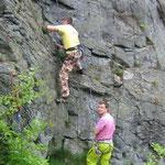 Klettern an der Teufelskanzel / Elstertal bei Greiz