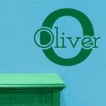 Oliver personalised boy's room sticker.
