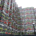 Neue Gebäude im Mikrorayon nach dem Massstabssprung