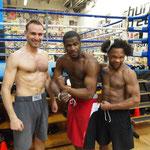 Church Street Gym, New York, März 2012. Mit Eric Kelly (mitte) und Antonio Ramirez (rechts)