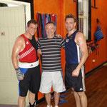 Trainingscamp in Perth (Australien) zur Vorbereitung auf die Olympia-Qualifikation 2008. Mit Adam Forsyth (links) und Bundestrainer Karl-Heinz Krüger (mitte)
