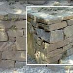 Trockenmauerwerk/Bruchsteinmauerwerk (Verlegung ohne Mörtel), Höhe: 6-25 cm - Einband: 15-35 cm