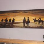 Westernbild in Acryl, mit Portraits der Familie - Geschenkidee zum 40.