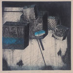 """limited surface-1"" woodblock intaglio,woodblock print h30cm X w30cm ed.10 2005"