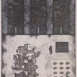 """atoms"" woodblock intaglio,woodblock print h81cm X w54cm ed.3 2006"