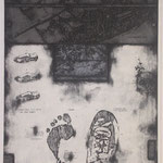 """their tracks"" woodblock intaglio,woodblock print h81cm X w54cm ed.3 2006"