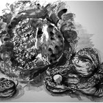 Tusche mit Aquarell laviert