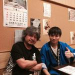 佑典君がお世話になっている東京、浅草の民謡の店「みどり」におじゃましました。久々の師匠との2ショット(貴重です)