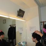 弘治君からヘアーセット(美容師さん 朝早くからありがとうございました)