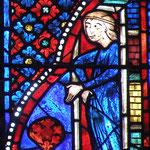 Une femme vêtue d'une robe bleue. Marie prenant conscience de son péché ?