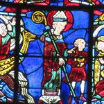 Un enfant noyé sauvé par St Nicolas. Le père offre un vase en or