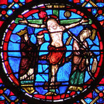 L'Église et la Synagogue autour du Christ en croix
