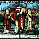 Conduit par deux anges il porte sa tête jusqu'à l'emplacement de la basilique St Denis