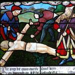 On l'attache sur une croix