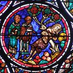Le voyageur est laissé pour mort au pied d'un arbre. Un prêtre et un lévite (en habits moyenâgeux) le regardent et n'iront pas le secourir (voyez la direction qu'indique leurs pieds)